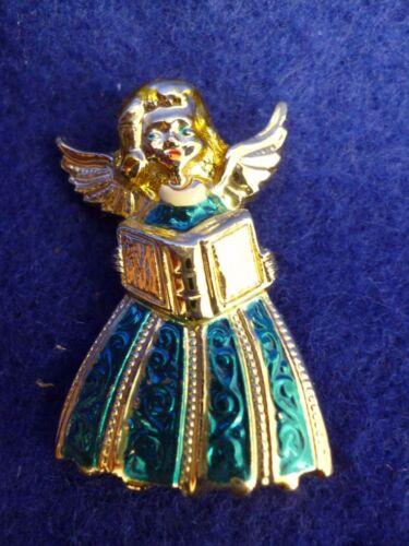 "VINTAGE PIN BROOCH ANGEL SINGING GOLD TONE BLUE DRESS MUSIC 1 1/2"" X 1"""