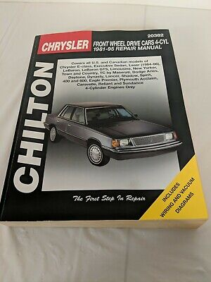 Chrysler Front-Wheel Drive Cars Chilton 4 Cylinder 1981 Repair Manual Chrysler Front Wheel Drive Car