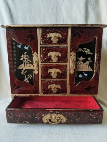 Vtg Chinese Lacquer Jewelry Cabinet Jewelry Organizer W/ Cork Art Carving Door