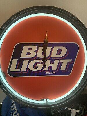 "Vintage Bud Light Beer neon sign clock 1995 17 3/4"" - Tested And Works"