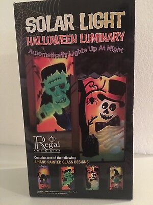 Home Accents: HalloweenHand Painted Glass Panel Luminary == Frankenstein