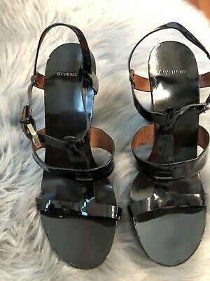 Women's Givenchy Black Patent Leather High Heel Platform Sandals Sz 39 9 US Black Patent Leather High Heel