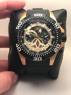 Invicta Aviator 21739 Gold Tone/Black Polyurethane Carbon Fiber Dial Watch-H41
