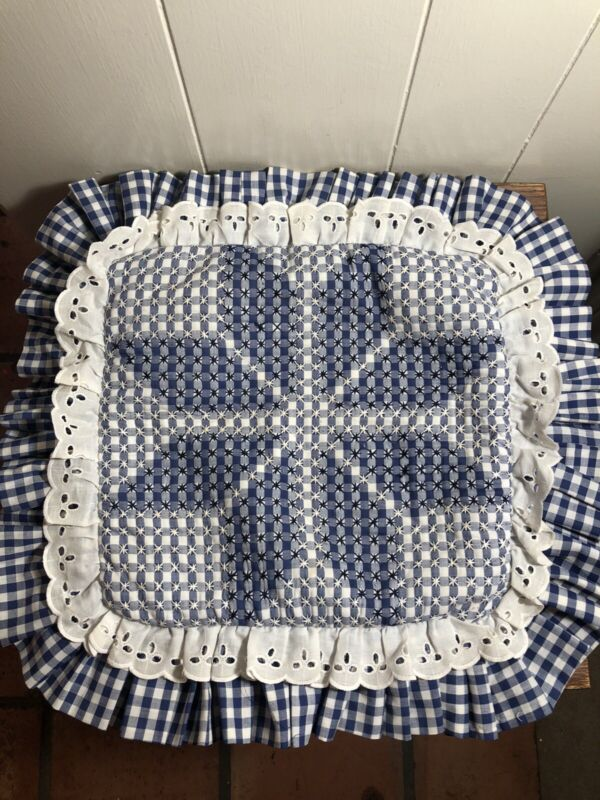 Vintage Navy Blue Embroidered Stars GINGHAM Pillow Sham w/Ruffles 18 x 18