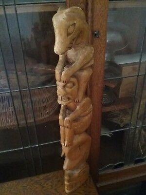 Antique Haida Wood Carved Totem Pole Pacific Northwest Ye Olde Curiosity Shop?