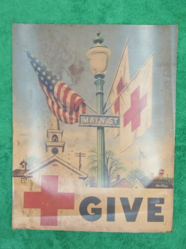 Vintage American Red Cross Poster Sign Give Main Street Church Stevan Dohanos