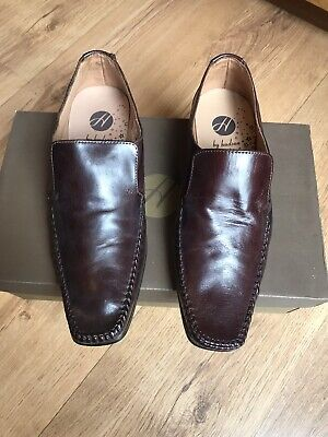 H BY HUDSON MEN'S BROWN LEATHER MOCCASINS LOAFERS SIZE UK 7 EU 41