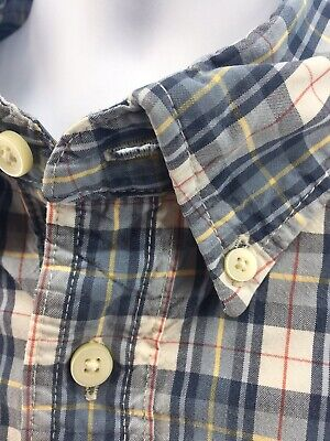 Abercrombie Fitch Muscle Fit Button Shirt Mens Size XXL 2XL Blue White Red Plaid