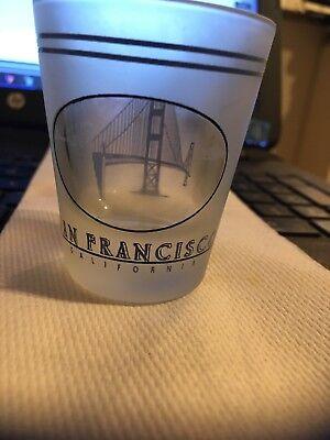 Vintage Shot Glass; San Fransisco California, Golden Gate Bridge Frosted
