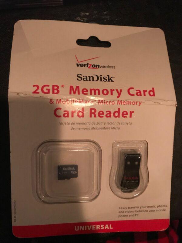 Verizon SanDisk 2GB Memory Card & MobileMate Micro Memory Card Reader
