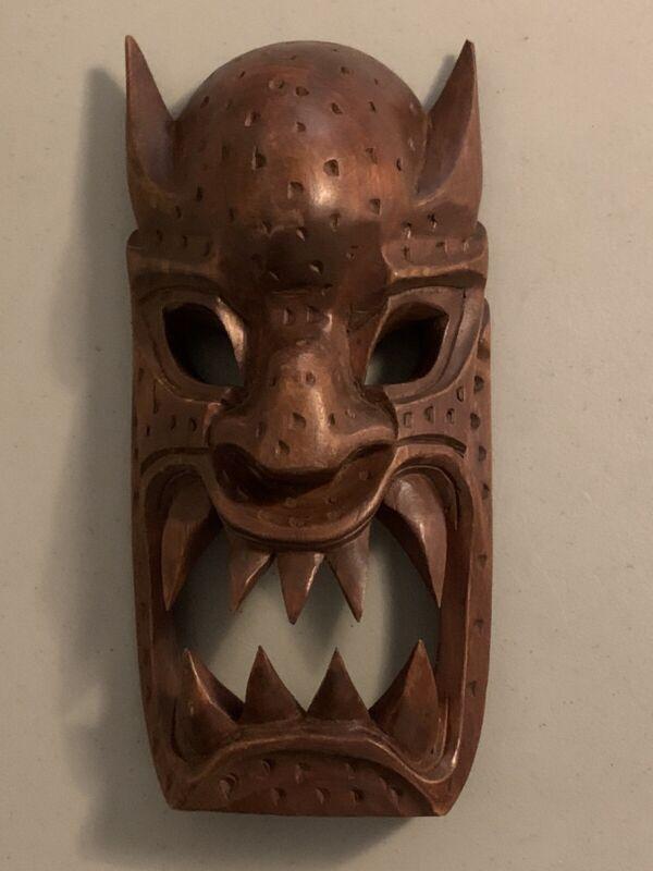 "Vintage Hawaii Carved Wood Headhunters Tribal Wooden Devil Mask 12"" Monkey Pod"