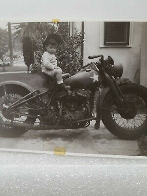 Harley Davidson Military Surplus Motorcycle Real Photo Young Boy Daryl 1940s