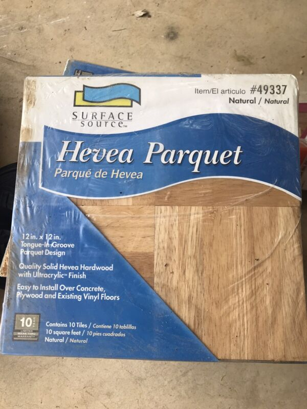 Hevea hardwood parquet one box 10 SQ FT 12x12 natural Tongue & Groove #49337