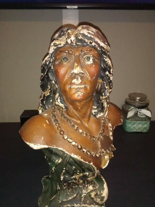Hiawatha Painted Chalk Cigar Store Indian Bust  ANTIQUE CHALKWARE