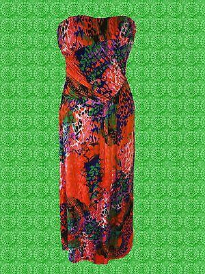 G655✪ Pop Art 60er 70er Jahre Boho Hippie Maxi Kleid dress orange Gr. 40 42 (Pop Art Kleid)