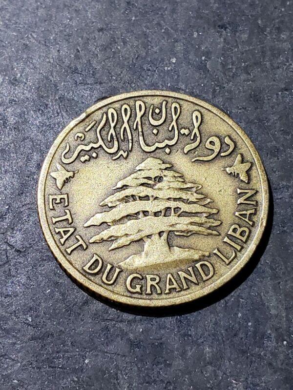 1925 LEBANON 5 PIASTRES - Rare Type/Date - HIGH GRADE Coin - #777888