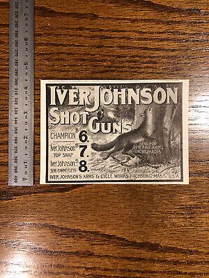 1904 Iver Johnson Shotguns Vintage Antique Advertising US Gun Sports Hunting