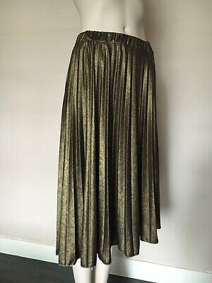 Dilek Hanif for KOTON Pleated Sparkly Bronze Gold Black Skirt, Size M,UK10/12