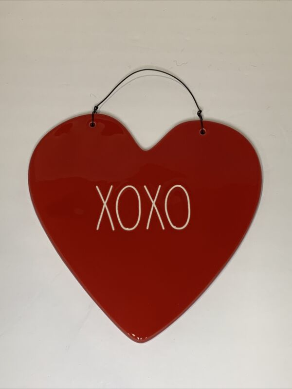 Rae Dunn Heart XOXO Red Ceramic Hanging Wall Decor ❤️ New in Box