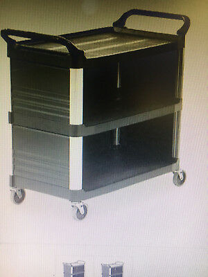 Rubbermaid Fg409300bla Cart Extra Utility 3 Shelf Black New