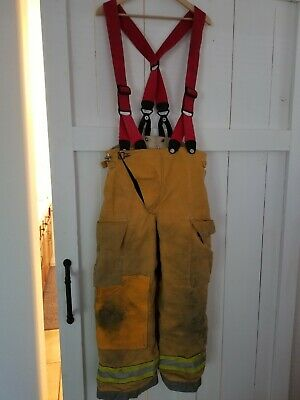 Firefighter Turnout Bunker Pants Globe 34x28 W Suspenders Halloween Costume