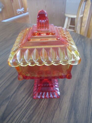 VTG Amberina Carnival Square Pedestal Dish with Lid - Candy/Nuts/More - Indiana