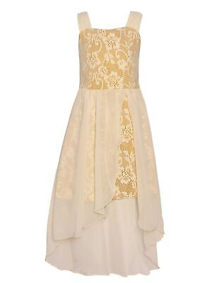 Floral Dress For Girls (Big Girls Ivory Gold Sparkle Floral Lace Tulle High-Low Christmas Dress)