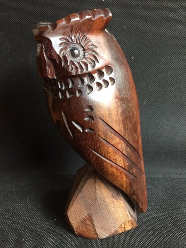 Vintage Mid-Century Hand Carved Heavyweight Ironwood Owl Sculpture Figure