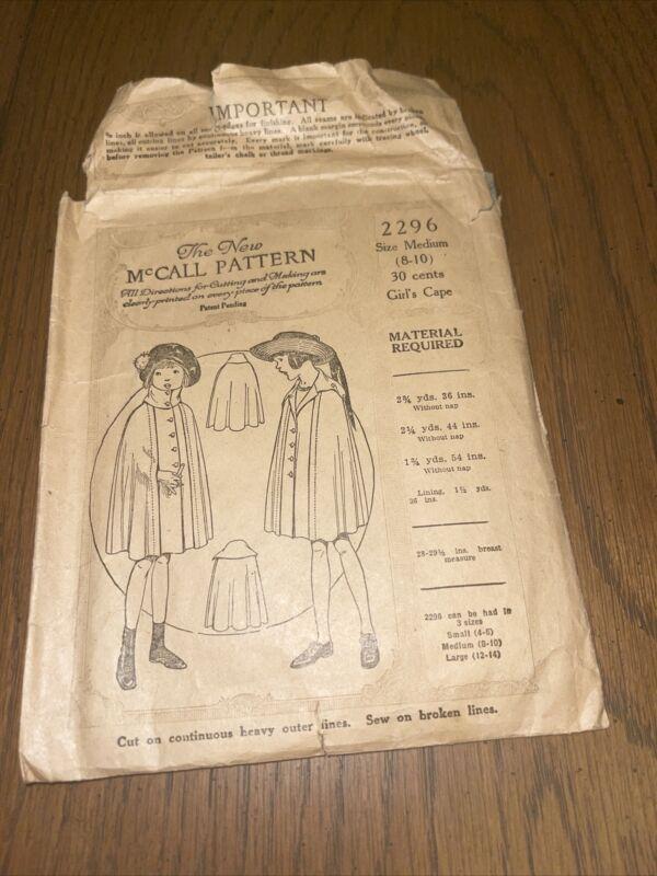 Patterns Antique Superior and McCall Children Girls Cape 2296 Size Medium 8-10