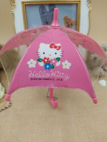 Sanrio Hello Kitty Mini Toy Umbrella Plush Keychain Display Trinket Vintage 1997