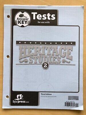 Heritage Studies 2 Tests answer Key  BJU Bob Jones History homeschooling teacher Studies Tests Answer Key