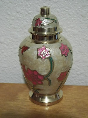 Ivory Pearl w/Pink Brass Keepsake Mini Token Urn wVelvet Bag~3 1/4