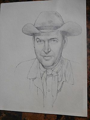 Hand Drawn Pencil Drawing of Jimmy Stewart--1981