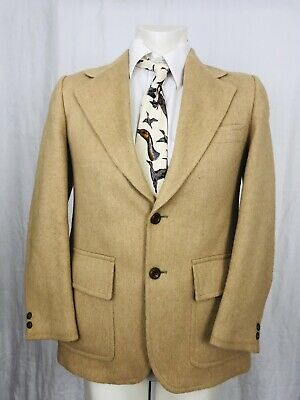 Vintage 1970's Camel Hair Blazer Sport Coat Mens Size 38 100% Camel Hair Tan (1970 Mens Hair)