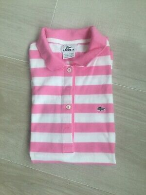 LACOSTE White/Pink Short Sleeve Croc Gator Womens Polo Size 38