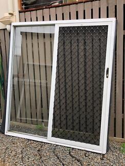 Bradnams glass sliding door 2.1x1.8 with security door & Bradnams white aluminium sliding stacker doors   Building ...