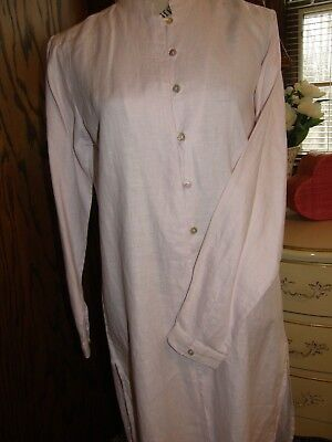 2991  Bloomingdales Tunic Shirt Dress Light Pink 100  Linen Sz 8 Mandarin Collr