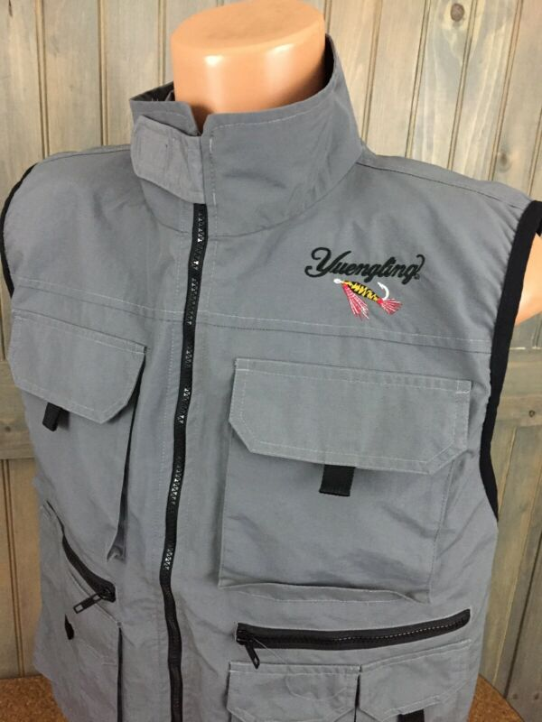 Yuengling Brewing Beer Co. Fishing Gray Outdoor Jacket Vest Men's