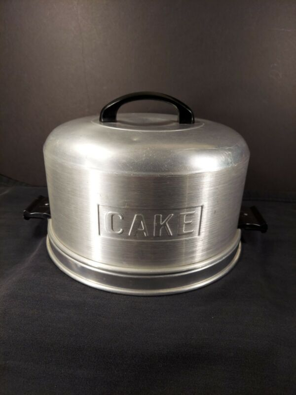 Kromex Aluminum Cake Carrier Holder Locking Lid Bakelite Handles Vintage