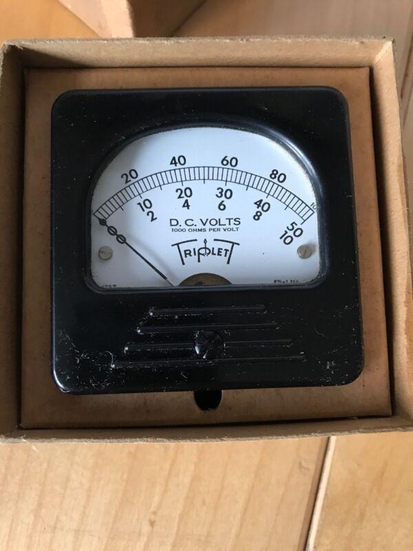 Vintage New NOS Triplet DC Volt Meter 0-50 Volts