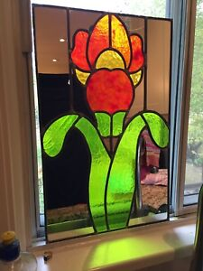 Vintage Stained Glass piece Red Rose mirror