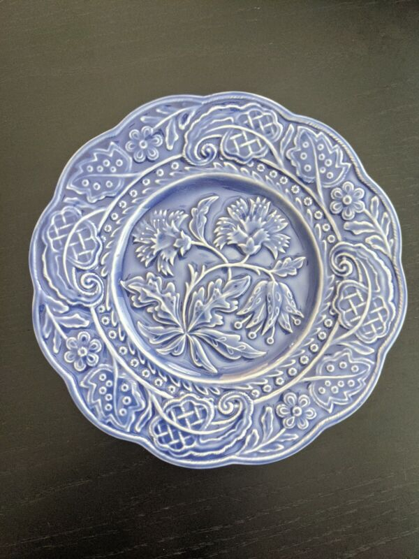 """Blue Ceramic Floral Plate By Jay Willfred Andrea by Sadek Portugal 8"""""""