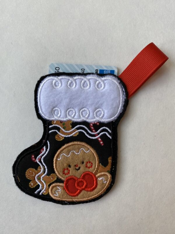 Gingerbread Man Stocking Gift Card Holder/Christmas/Tag/Embroidered/Handmade