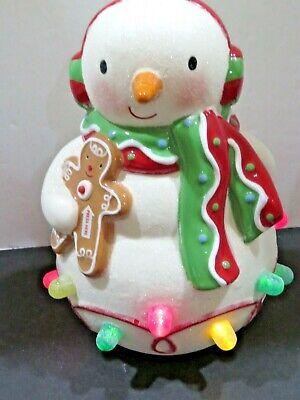 2008 Hallmark Ceramic Snowman Christmas Musical Light-up Gumdrop Working A9143