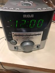 RCA Mini Silver Stereo CD Clock Radio Player RP3751A Tested Works