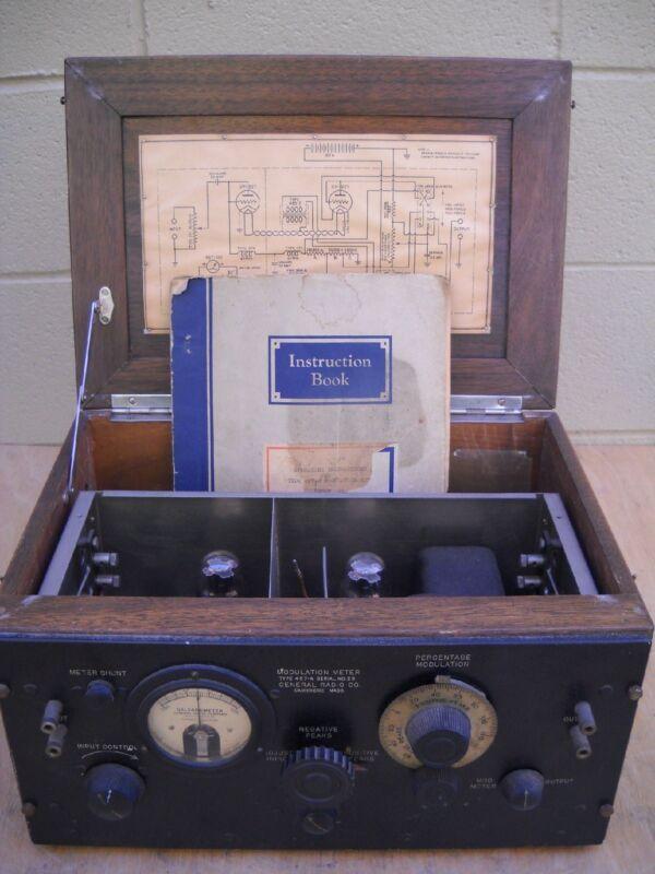 Vintage Rare Antique 1931 General Radio Co Modulation Meter Type 457-A  w/Manual
