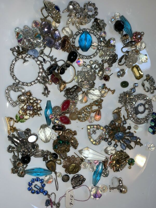 Vintage Replacement Stones Rhinestones Crystals Pieces for Repairs 10 oz+