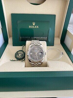 ROLEX Datejust 41 126334 Wimbledon 18ct gold Bezel Slate Green Roman UNWORN 2021