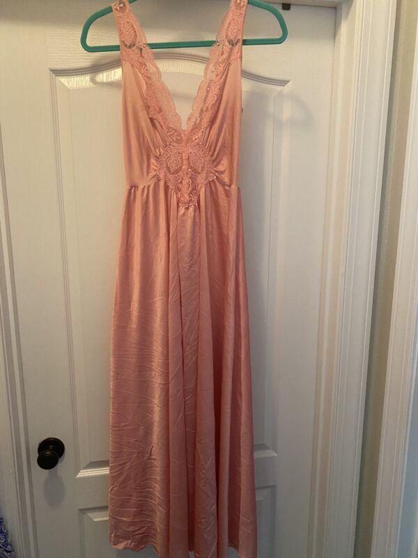 "Vintage Olga Nightgown soft nylon lace bodice Pink Rose 180"" Sweep M"
