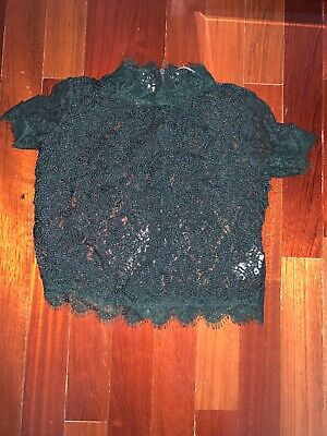 ZARA TRAFALUC Floral Lace Sheer Short Sleeve Crop Top - Size SMALL
